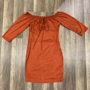 Mid Sleeve Short Dress - Paprika Color